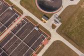 Aerial view of sewage treatment plant — Fotografia Stock