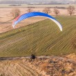 Aerial view of paramotor flying over the harvest field — Stock Photo #68833025