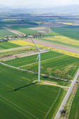 Aerial view of wind turbine on a field — Stock Photo