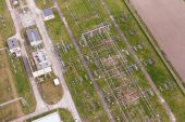 Aerial image of electrical substation in Poland — Stock Photo
