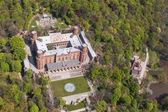 Aerial view of palace in Kamieniec Zabkowicki town — Stock Photo