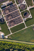 Aerial view of sewage treatment plant — Stock Photo