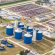 Aerial view of sewage treatment plant — Stock Photo #73805657