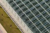 Aerial view of greenhouses — Stock Photo