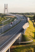 Aerial view of the highway in Poland — Stock Photo