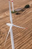 Wind turbine on a field, aerial photo — Stock Photo