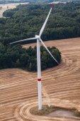 Wind turbine on a field, aerial photo — Stock Photo