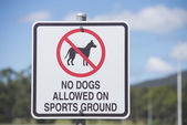 Restricted Access Sign for Dogs on Sports Ground — Stock Photo