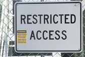 Restricted Access Sign at Asbestos Building — Stock Photo