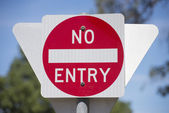 No entry road sign with blurred background outdoor — Stock Photo
