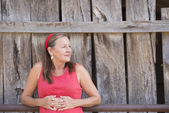 Happy laid back senior woman outdoor — Stock Photo