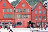 Hanseatic buildings of Bryggen, a World Heritage Site. Bergen, N — Stock Photo