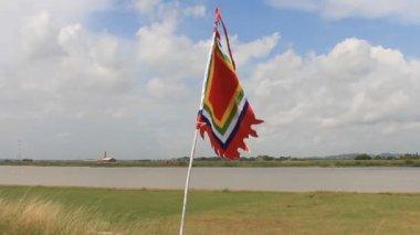 Flag in the traditional festival in Vietnam — Vídeo de stock