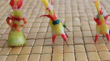 Tohe, the traditional toys in Vietnam made by colored rice powder — Stock Video