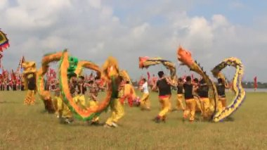 A group of Asian people dance dragon in folk festivals — Video Stock