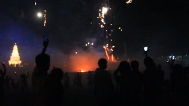 Fireworks in a traditional festival, vietnam — Stock Video