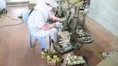 HAI DUONG, VIETNAM, August, 3: workers castigate bronze casting  — Stock Photo