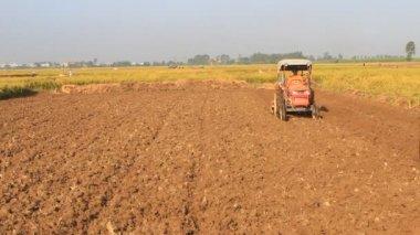 Tractor working in a field, vietnam — Stock Video