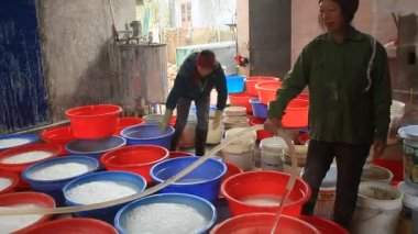 Haiduong, Vietnam, February, 10, 2015: people processing Kudzu flour — Stock Video
