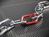 Chrome chain with a red link — Stock Photo