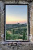 Framed view from an old window1 — Stock Photo