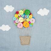 Hot air balloon made of multicolored buttons1 — Foto Stock