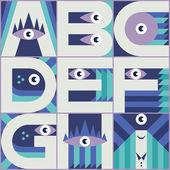 Monster font A B C D E F G H I — Stock Vector