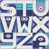 Monster font S T U V W X Y Z — Stock Vector