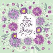 Vackra födelsedagskort med blommor — Stockvektor