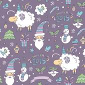 Seamless colored christmas pattern with sheep — Stock Vector