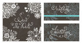 Set of wedding invitations cards. — Stock Vector