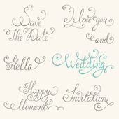 Vintage wedding lettering set — Stock Vector