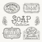 Hand drawn labels and patterns for handmade soap bars. — Stock Vector