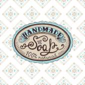 Hand drawn label and pattern for handmade soap bar — Stock Vector