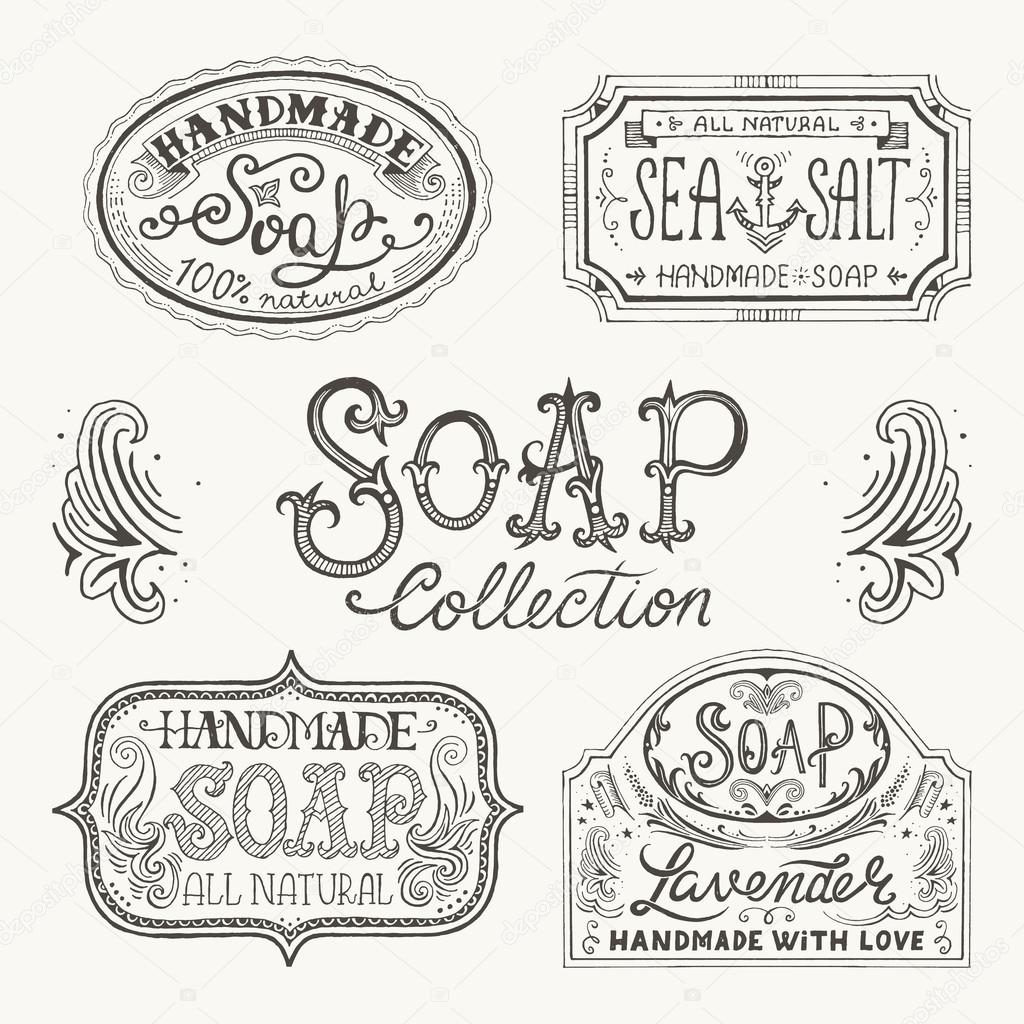 Hand drawn labels and patterns for handmade soap bars. — Stock ...