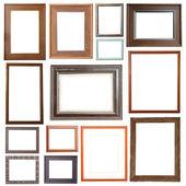 Wooden rectangular frame isolated on white background — Stock Photo