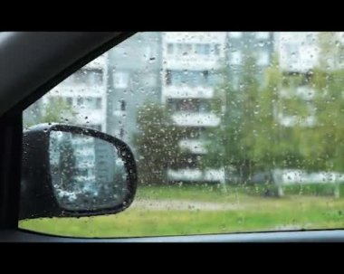 Autumn rainy weather from inside car — Stock Video