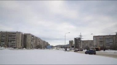 Città di inverno giorno strada traffico timelapse — Video Stock