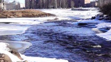 River stream flow in ice — Stock Video