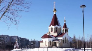 Orthodox church view in spring day — Stock Video