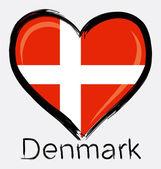 Love Denmark grunge flag — Vector de stock