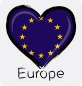 Love grunge European Union Flag — Stock Vector
