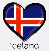 Love Iceland Flag — Stock Vector
