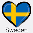 Love Sweden grunge flag — Stock Vector #55316913