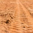 Trace of a tyre in the sand — Stock Photo #77779974