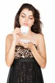 Nice woman with cup of coffee — Photo