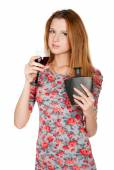 Beautiful young woman with alcoholic drink — Foto de Stock
