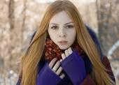 Closeup portrait of charming beautiful girl in winter — Stock Photo