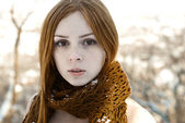Closeup portrait of beautiful pure girl in winter — Stock Photo