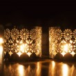 Two small burning candles on dark background — Stock Photo #52170959
